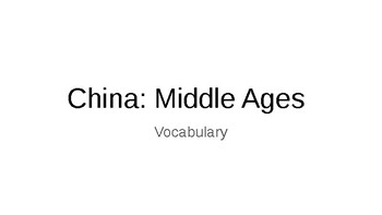 China: Middle Ages vocabulary visuals