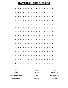 China Natural Resource Worksheet and Word search
