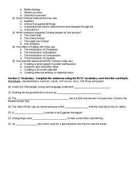 China Notes and Quiz - from Unit 1 of McGraw-Hill Grade 6 The World