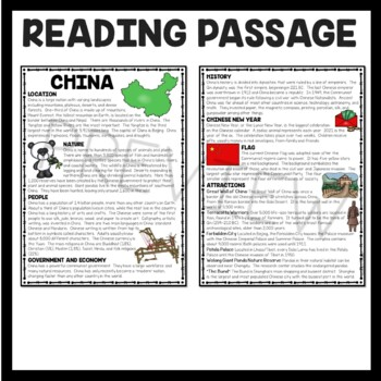 China Overview Reading Comprehension; Asia; Country