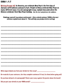 China (Reading A - Z Text) Writing Prompts - Levels L, U, Z
