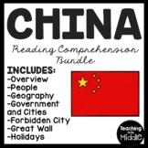 China Reading Comprehension Worksheet Bundle Country Studies Asia