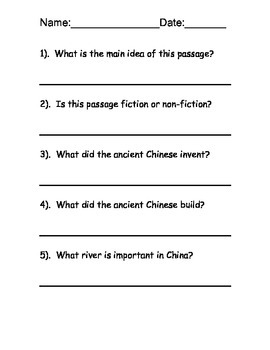 China Reading Comprehension Packet