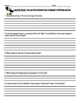 China Scavenger Hunt 3rd Grade