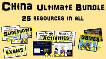 China Ultimate Bundle: 25 PPTs, primary sources, activities, games, exams & more