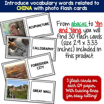 China - Country Symbols: 5 Different Word puzzles and 30 Photo Flash Cards