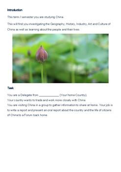 China - Webquest. Studies of Asia