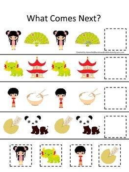 China What Comes Next preschool math game.  Printable daycare curriculum.