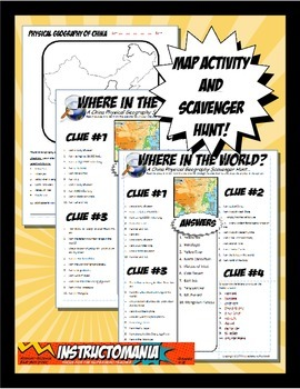 China Where in the World Scavanger Hunt & Map Activity Physical Geography