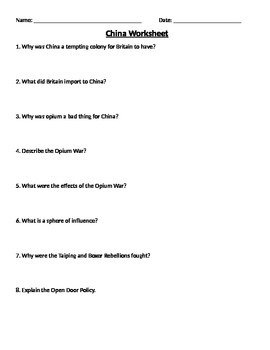 Global 2: China Worksheet
