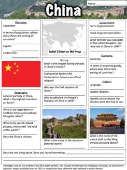 China Worksheet