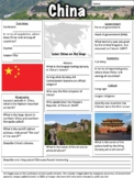 China Worksheet