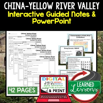 China, Yellow River Valley Civilization Guided Notes and PowerPoints, Google