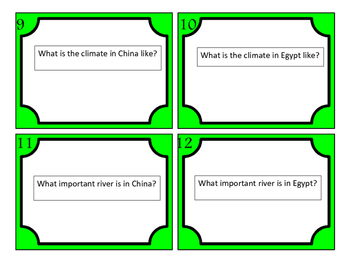 China and Egypt and Communities Task Cards