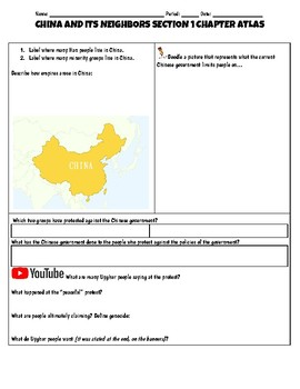 China and its Neighbors Geography Doodle Notes