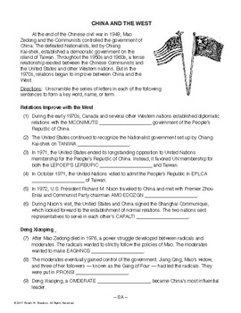 China and the West, RECENT WORLD HISTORY LESSON 8/45, Activity+Quiz