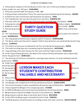 China in the Middle Ages: Interdependent Answer Sheets Activity