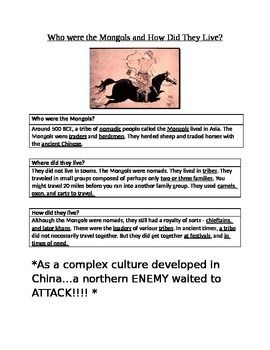 China in the Middle Ages Mongols Foldable Activty and Lesson Plan