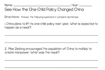 China's One Child Policy Web Quest