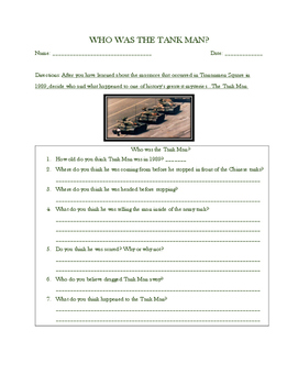 China's Tiananmen Square - Tank Man: Questions for Student Thought