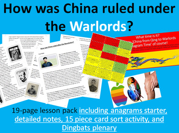 China's Warlords - 15-page full lesson (starter, notes, card sort, plenary)
