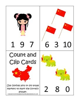 China themed Count and Clip preschool math cards.  Daycare child care math.