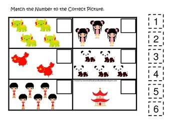 China themed Match the Number preschool learning game.  Daycare curriculum.