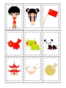 China themed Memory Matching preschool learning game.  Daycare.
