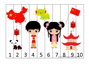 China themed Number Sequence Puzzle preschool learning game.  Daycare.