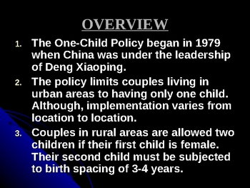 China's One Child Policy Power Point