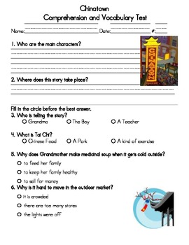 Chinatown Comprehension & Vocabulary Test