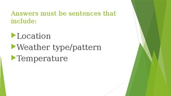 Chinese 2: Weather Sentences Practice PP (第二年中文:天气练习PP)