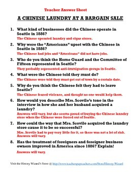 """Chinese American Immigration Worksheet: """"A Chinese Laundry at a Bargain Sale"""""""