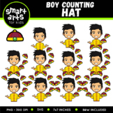 Chinese Boy Counting Hat Clip Art