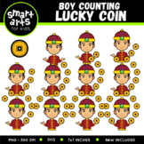 Chinese Boy Counting Lucky Coin Clip Art