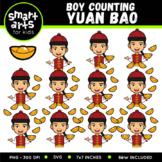 Chinese Boy Counting Yuan Bao Clip Art