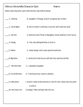 chinese cinderella character quiz by lesson library tpt. Black Bedroom Furniture Sets. Home Design Ideas