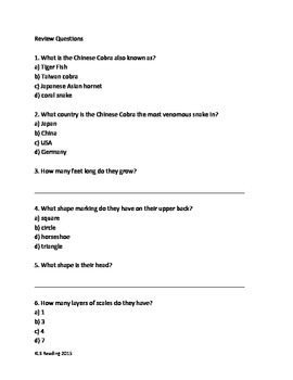 Chinese Cobra - Snake - Informational Review Article Facts Questions Vocabulary