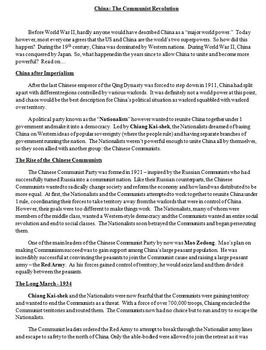 Chinese Communist Revolution Lesson Plan: Comic Strip Activity