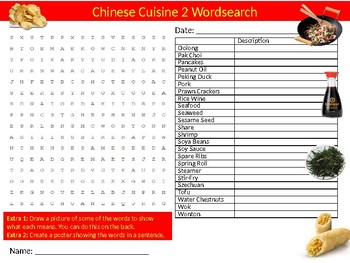 Chinese Cuisine #2 Wordsearch Sheet Starter Activity Keywords World Food