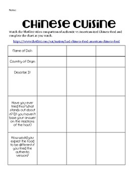 Chinese Cuisine Video Worksheet