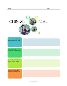 Chinese Culture:  A Fillable Fact-Finding Sheet