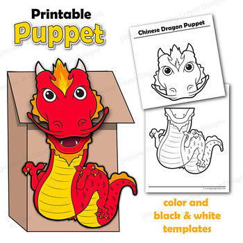 picture relating to Chinese Dragon Printable referred to as Chinese Dragon Craft Recreation Paper Bag Puppet Template