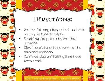 Chinese Dragon Rhythms - Interactive Reading Practice Game {triple ti}