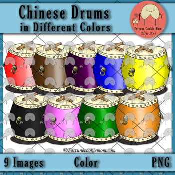 Chinese Drums in Different Colors