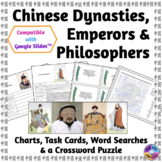 Chinese Dynasties, Emperors & Philosophers: Charts, Task Cards & Puzzles