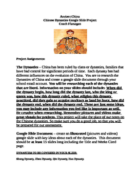 Chinese Dynasties Google Slide Project (Rubric is free)