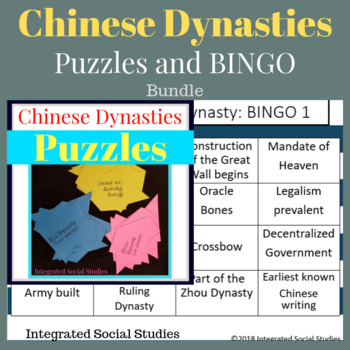 Chinese Dynasties Puzzles and BINGO