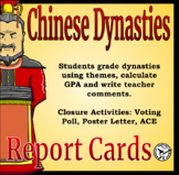 Chinese Dynasties Report Card Leveled Reading - Distance Learning