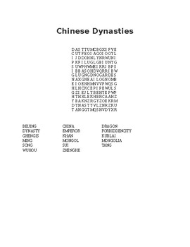 Chinese Dynasties Word Search